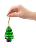 Hand and christmas decoration Stock Photo