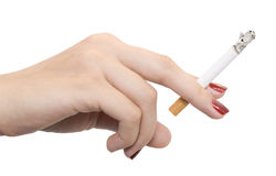 Hand with cigarette Stock Photos