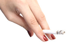 Hand with cigarette Stock Images