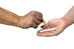 Hand and cigarette. Dirty hand paying for cigarette Stock Image