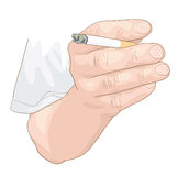 Hand with a cigarette. Illustration Royalty Free Stock Photography