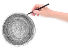 Hand and circle pencil scribbles background
