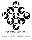 Hand circles design with copy space. Stock Image