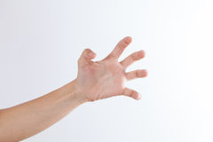 Hand in claw gesture on a white isolated background Royalty Free Stock Photography