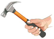 Hand with claw hammer Stock Images