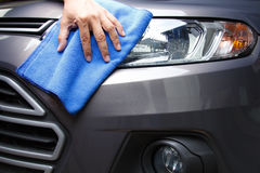 Hand cleaning car stock images
