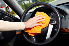 Hand cleaning car. Royalty Free Stock Image