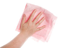 Hand with cleaning cloth Royalty Free Stock Photos