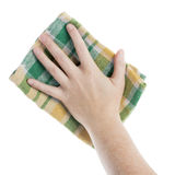 Hand with cleaning cloth. Hand with checkered cleaning cloth isolated on white Royalty Free Stock Photo