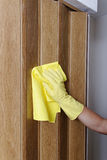Hand cleaning door. Royalty Free Stock Images