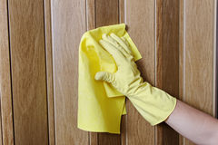 Hand cleaning door. Royalty Free Stock Image