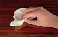Hand cleaning dust Stock Photo
