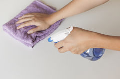 Hand cleaning with foggy and rag cloth Royalty Free Stock Photography