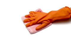 Hand in cleaning glove with towel Royalty Free Stock Images