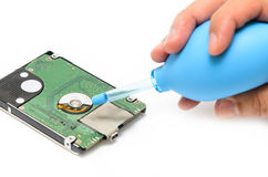 Hand Cleaning Hard Disk Stock Images