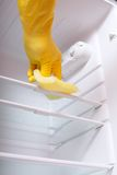 Hand cleaning refrigerator. Royalty Free Stock Images