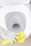 Hand cleaning WC. Royalty Free Stock Photo