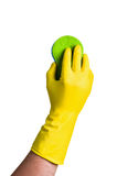 Hand cleaning a window or glass Royalty Free Stock Photo