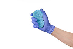 Hand cleaning window or glass with sponge on white background Stock Image