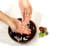 Hand cleansing as part of beauty and healthcare. Setting suitable for self pampering or spa, isolated with copyspace Stock Images