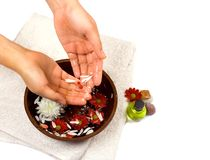 Hand cleansing as part of beauty and healthcare setting. Suitable for self pampering or spa, isolated with copyspace Royalty Free Stock Photos