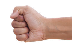 Hand with clenched a fist. Isolated on a white background with using path Royalty Free Stock Photography