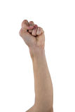 Hand with clenched fist. Against white background Stock Images