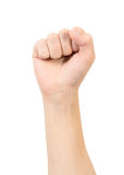 Hand with clenched a fist. Isolated on a white background Stock Photos