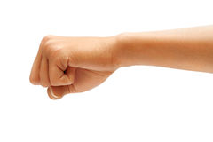 Hand with clenched a fist. Isolated on white background,  Riot protest concept. High resolution product. Close up Stock Images
