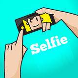 Hand click button to selfie and smile at screen on green backgro Stock Images