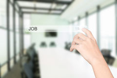 Hand click find job interface. Office interior background stock image