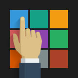 Hand click icon 001. Hand click flat icon. Vector illustration, easy editable Royalty Free Stock Image