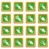 Hand click icons set green square vector. Hand click icons set vector green square isolated on white background Royalty Free Stock Photography