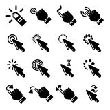 Hand click icons set, simple style. Hand click icons set. Simple illustration of 16 hand click vector icons for web Stock Images