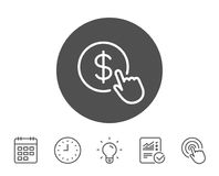 Hand Click line icon. Currency exchange sign. Cursor pointer symbol. To pay or get money. Report, Clock and Calendar line signs. Light bulb and Click icons Royalty Free Stock Photo