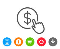 Hand Click line icon. Currency exchange sign. Cursor pointer symbol. To pay or get money. Report, Information and Refresh line signs. Shopping cart and Royalty Free Stock Images