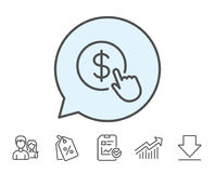 Hand Click line icon. Currency exchange sign. Cursor pointer symbol. To pay or get money. Report, Sale Coupons and Chart line signs. Download, Group icons Stock Photo