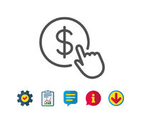 Hand Click line icon. Currency exchange sign. Cursor pointer symbol. To pay or get money. Report, Service and Information line signs. Download, Speech bubble Royalty Free Stock Image