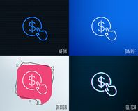 Hand Click line icon. Currency exchange sign. Glitch, Neon effect. Hand Click line icon. Currency exchange sign. Cursor pointer symbol. To pay or get money Royalty Free Stock Image