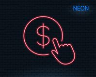 Hand Click line icon. Currency exchange sign. Neon light. Hand Click line icon. Currency exchange sign. Cursor pointer symbol. To pay or get money. Glowing Royalty Free Stock Photos