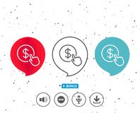 Hand Click line icon. Currency exchange sign. Speech bubbles with symbol. Hand Click line icon. Currency exchange sign. Cursor pointer symbol. To pay or get Stock Photos