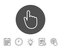 Hand Click line icon. Finger touch sign. Cursor pointer symbol. Report, Clock and Calendar line signs. Light bulb and Click icons. Editable stroke. Vector Royalty Free Stock Photos