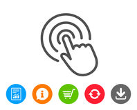 Hand Click line icon. Finger touch sign. Cursor pointer symbol. Report, Information and Refresh line signs. Shopping cart and Download icons. Editable stroke Stock Images