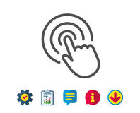 Hand Click line icon. Finger touch sign. Cursor pointer symbol. Report, Service and Information line signs. Download, Speech bubble icons. Editable stroke Royalty Free Stock Photo
