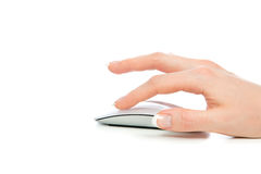 Hand click on modern computer mouse Stock Photography