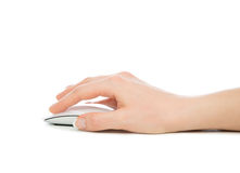 Hand click on modern computer mouse Stock Photo
