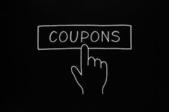 Hand Clicking Coupons Button Royalty Free Stock Photography