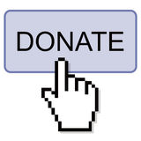 Hand Clicking Donate Button. Press red donate button on white background Royalty Free Stock Image