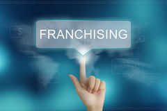 Hand clicking on franchising button Stock Photo