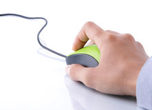 Hand clicking mouse computer Stock Photo